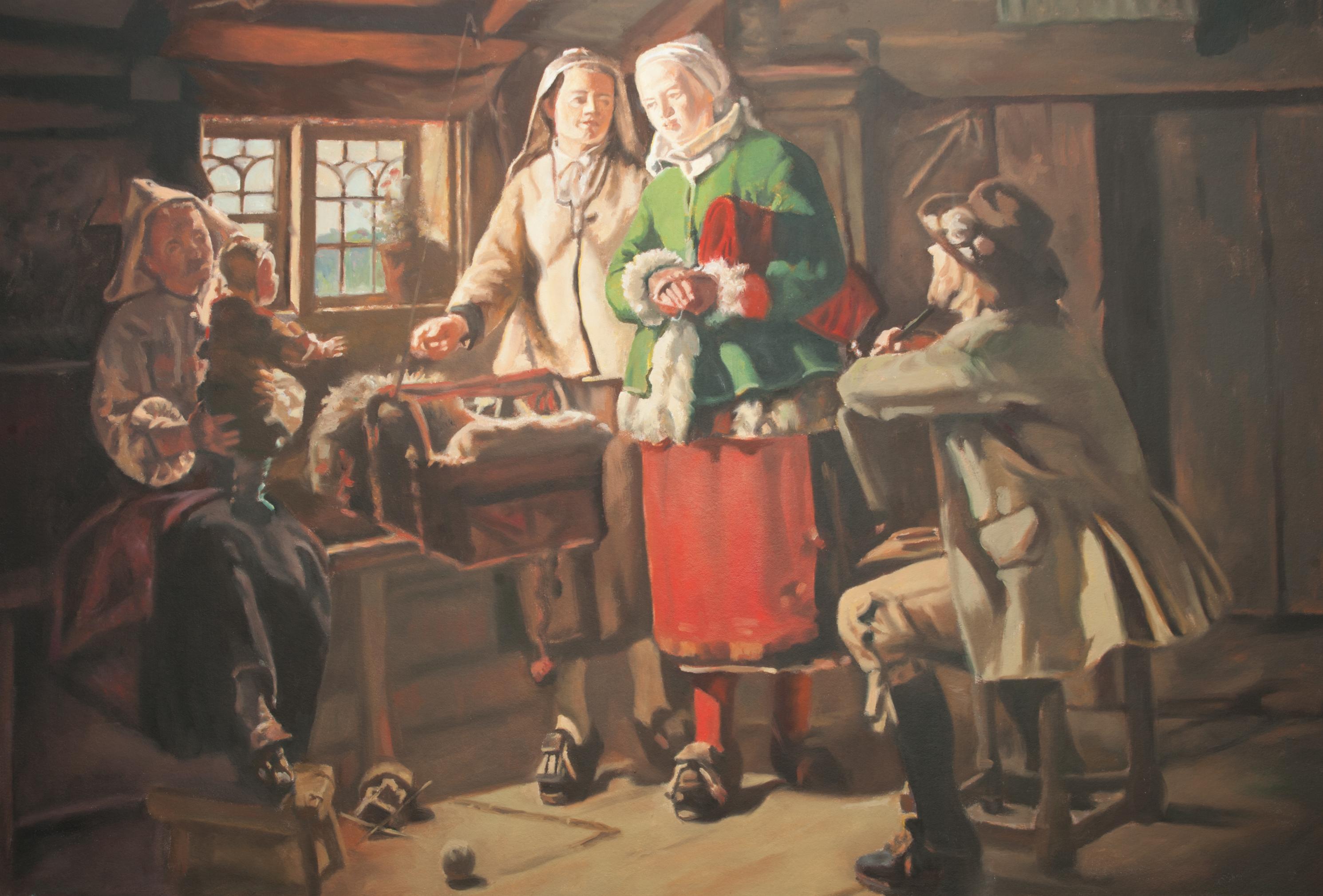 Reproduktion av Claes-Åke Schlönzig - Johan Fredrik Höckert - Gudmors besök - Klicka för att byta till perspektivbild.
