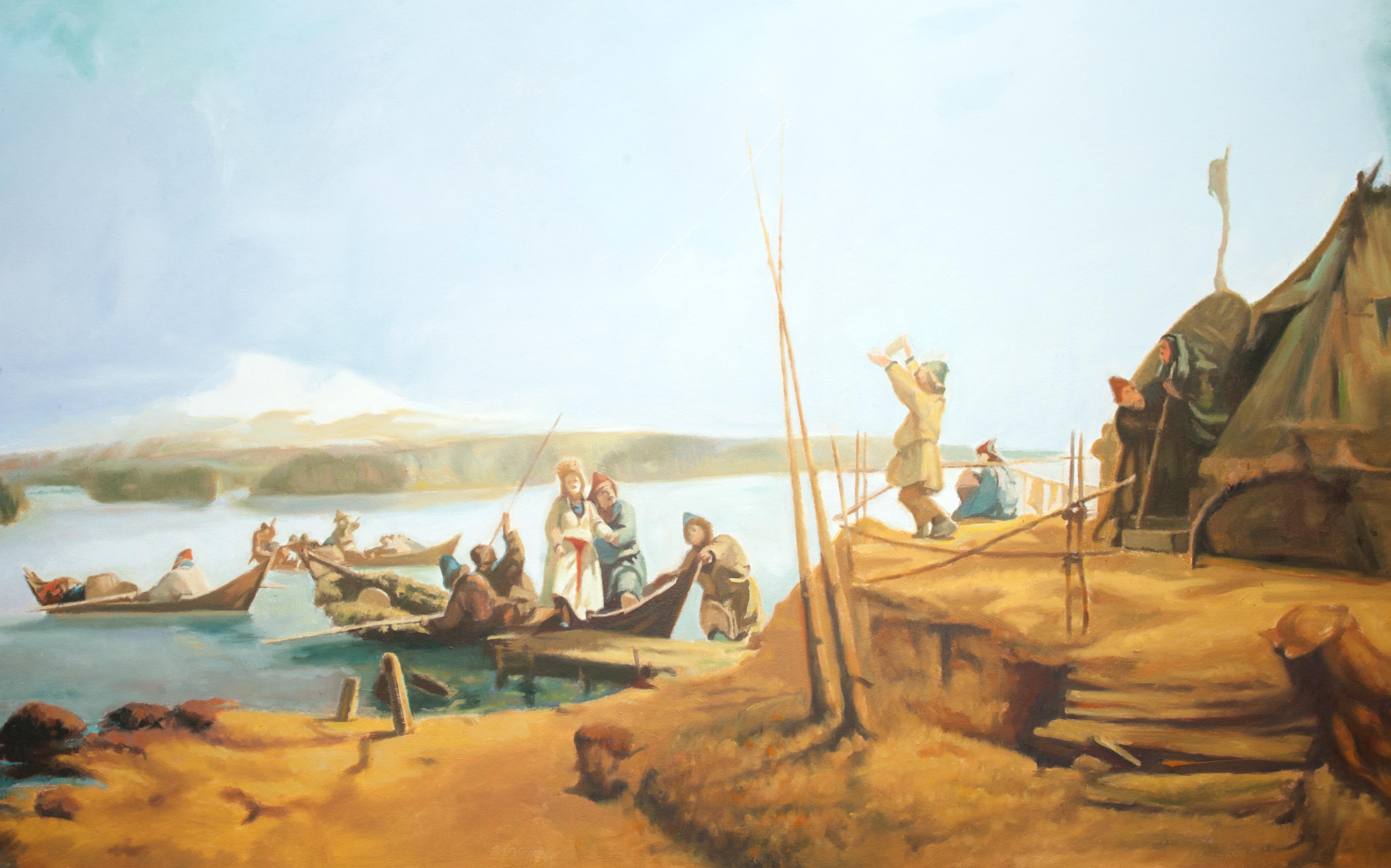 Reproduktion av Claes-Åke Schlönzig - Johan Fredrik Höckert - Brudfärd på Hornavan - Klicka för att byta till perspektivbild.