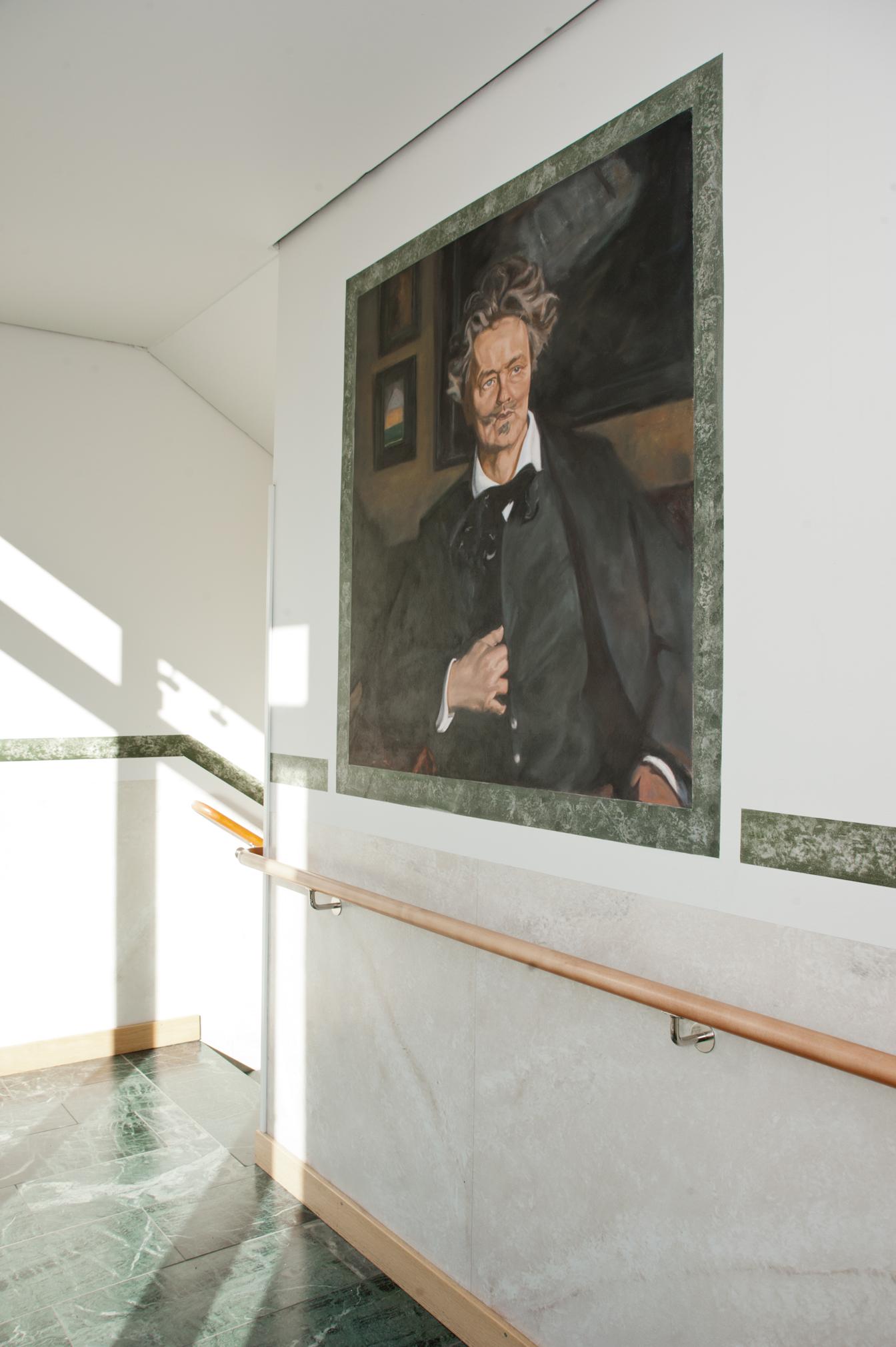 Reproduktion av Claes-Åke Schlönzig - Rickard Berg - August Strindberg - Klicka för att byta till närbild.