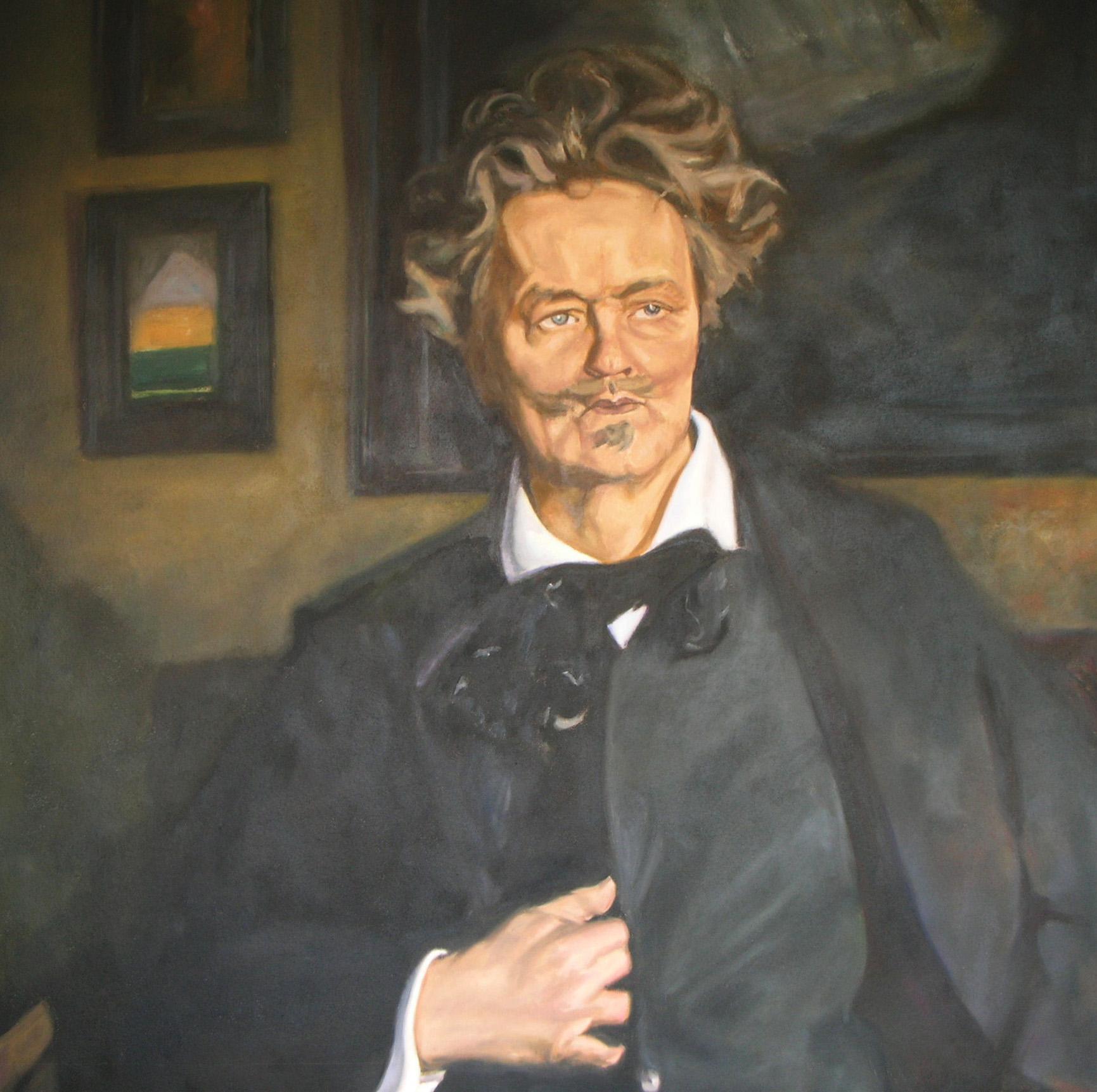Reproduktion av Claes-Åke Schlönzig - Rickard Berg - August Strindberg - Klicka för att byta till perspektivbild.