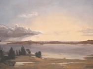 Reproduktion av Claes-Åke Schlönzig - Johan Thomas Lundby - Landskap från sjön Arre (1838)