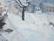 Reproduktion av Claes-Åke Schlönzig - Carl Larsson - Vintermotiv från Åsögatan 145