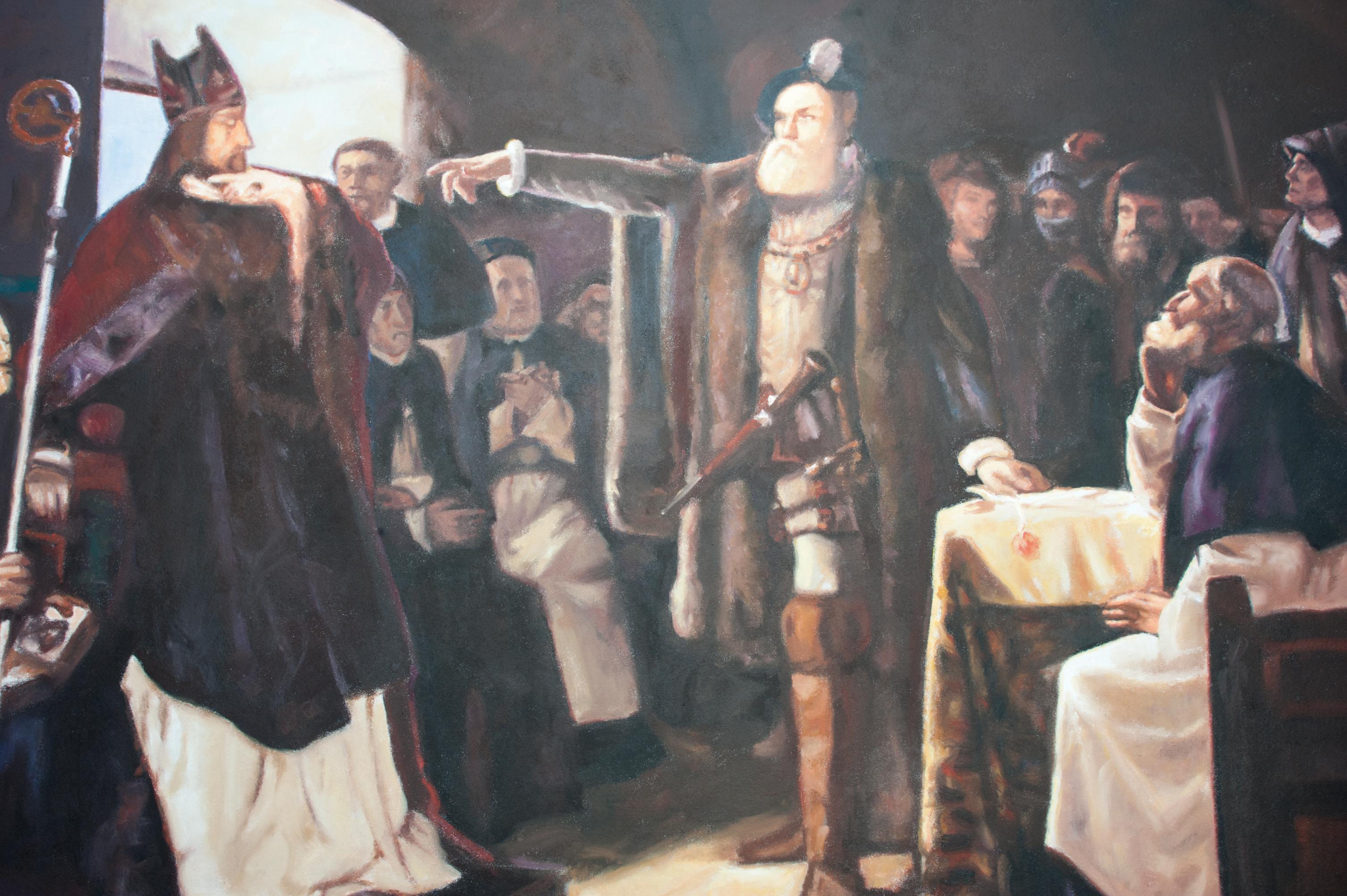 Reproduktion av Claes-Åke Schlönzig - Ernst Josephsson - Gustav Vasa anklagar Peder Sunnanväder