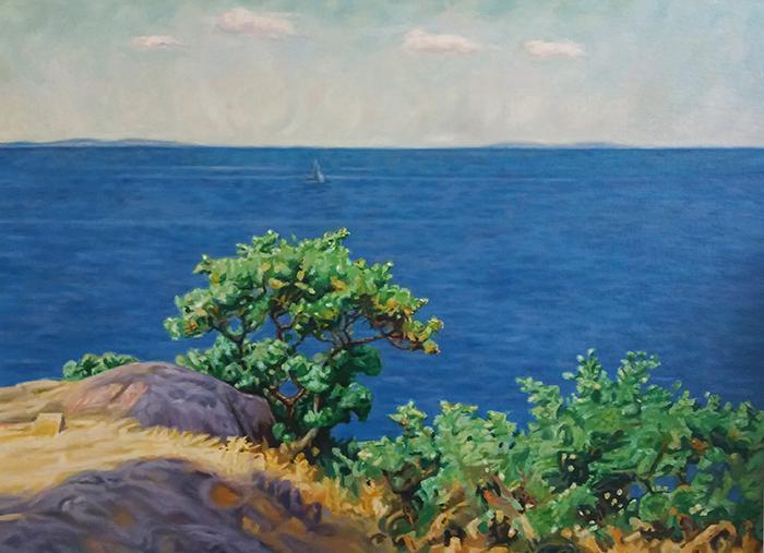 Reproduktion av Claes-Åke Schlönzig - Elias Erdtman - Träd vid vatten