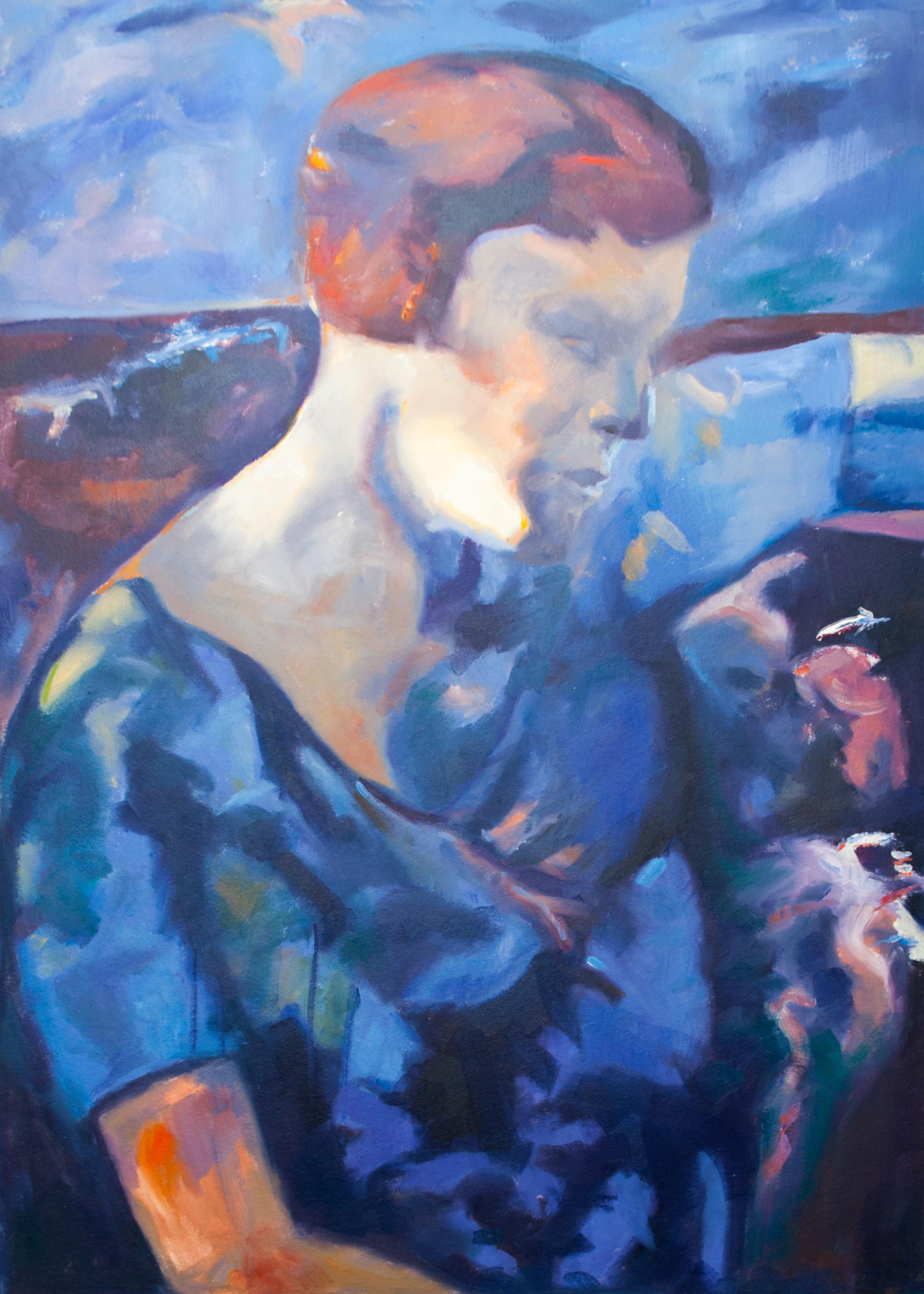 Reproduktion av Claes-Åke Schlönzig - Åke Göransson - Kvinna i blått och lila 1933