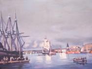 Reproduktion av Claes-Åke Schlönzig - C.F. Sörensen - Göteborgs hamn 1852