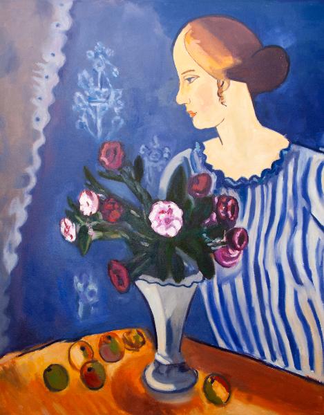 Reproduktion av Claes-Åke Schlönzig - Gösta Sandels - kvinna med nature morte 1918
