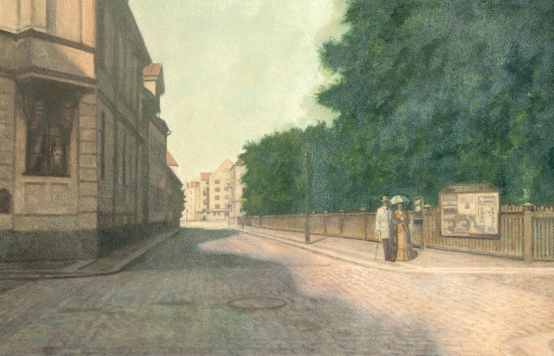 Kungsgatan - Platensgatan mot Vasavägen (1900) - Klicka för att byta till perspektivbild.