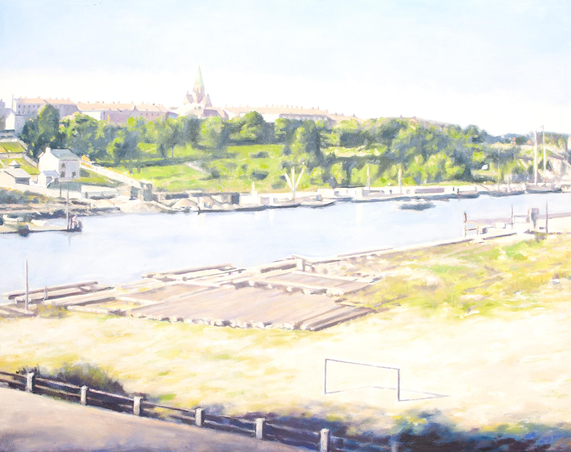 Claes-Åke Schlönzig - Vy norrut från Hammarby mot Södermalm 1930 - Klicka för att byta till perspektivbild.
