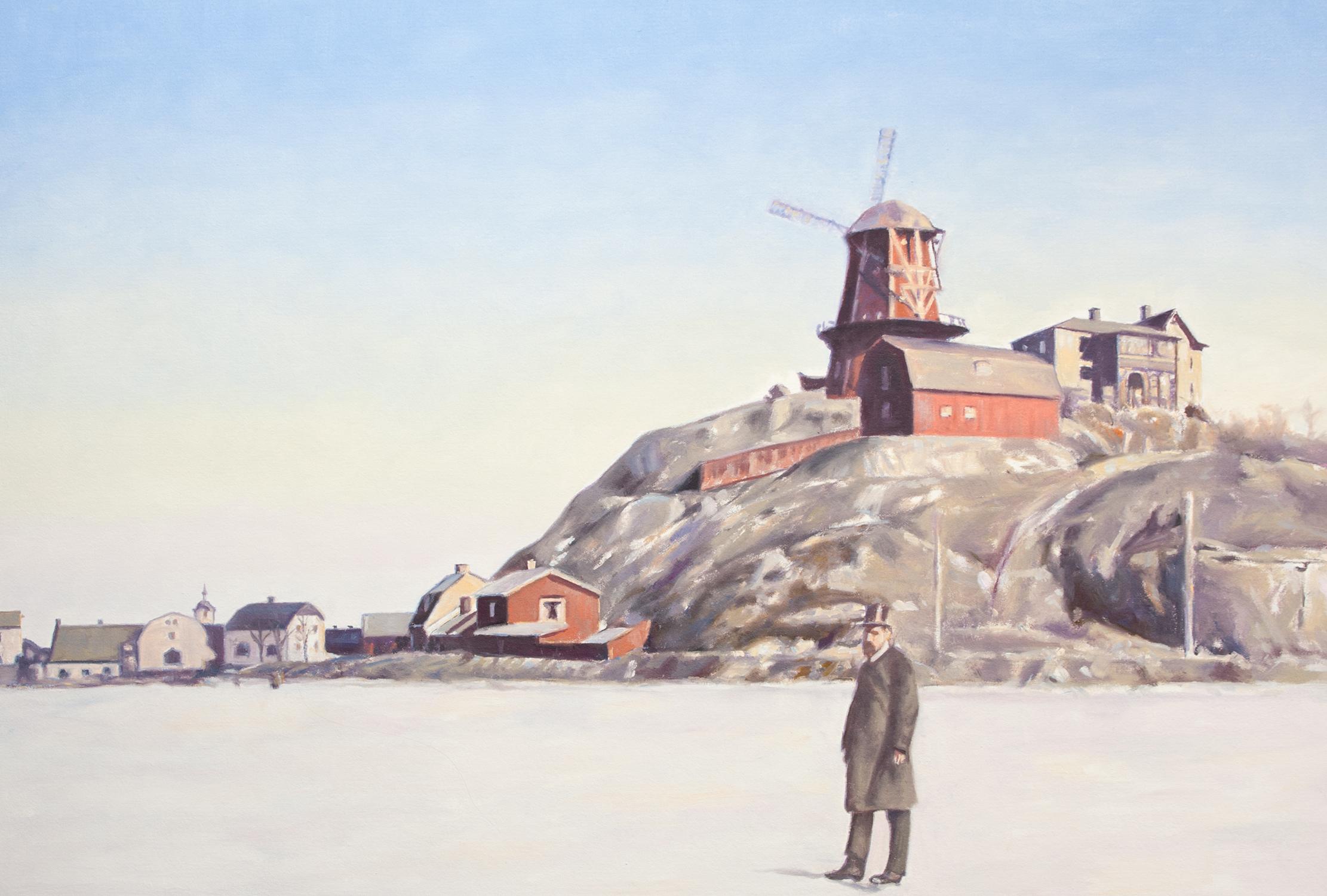 Claes-Åke Schlönzig - Danviksklippan sett från Hammarby sjö 1892 - Klicka för att byta till perspektivbild.