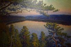 Elias Erdtman - Solnedgång över insjö