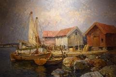 Hugo Öfverström - Fiskeläge med segelbåtar