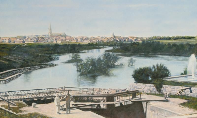 Utsikt mot Linköping från Tannefors slussar (sekelskiftet)