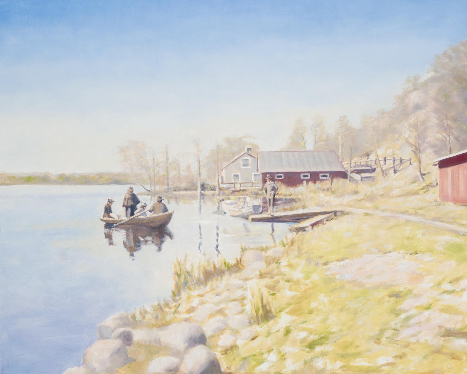 Claes-Åke Schlönzig - Strandmotiv från Hammarby sjö 1891 - Klicka för att byta till perspektivbild.